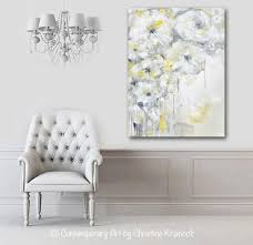 gray and gold floral wall art