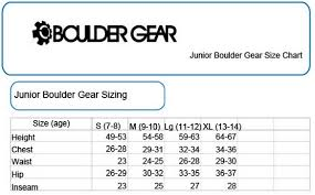 Boulder Gear Size Chart Boulder Gear Kids Size Chart Christy Sports