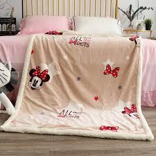disney cartoon minnie mouse fleece lamb fleece four seasons warm childrens blanket kids children throw sofa mat