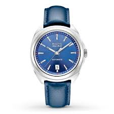 men s bulova watch automatic accuswiss with blue dial leather strap cv88