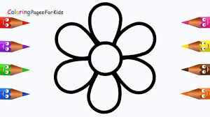 flower colouring pictures. Wonderful Colouring How To Draw Flower Coloring Pages For KidsChildren Toddlers  Learn  Colours With Colouring Book Inside Pictures T
