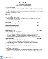 Sample Graduate Cv For Academic And Research Positions Wordvice