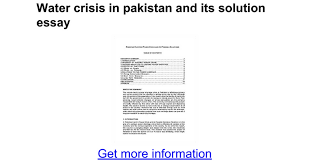 water crisis in and its solution essay google docs
