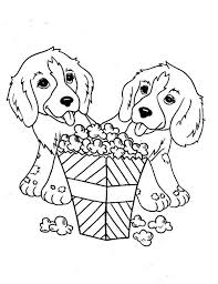 Small Picture Two Little Dog Eating Popcorn Coloring Page Color Luna