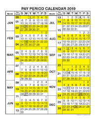 Federal Pay Period Chart Federal Pay Periods 2019 Calendar Calendar Template Printable
