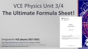 vce physics the ultimate formula sheet