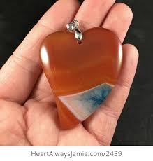 orange and blue heart shaped druzy agate stone pendant 3iwflhmu3ou 1