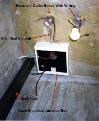 electrical junction box in the process of installation electrical conduits terminate at the sides and cables pass through or are joined inside the box