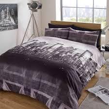 duvet cover with pillow case bedding set london skyline black grey union jack
