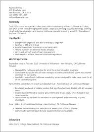 Resume Templates: Clubhouse Manager