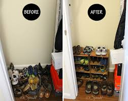 diy shoe rack before and after