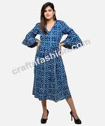 Ladies Designer Umbrella Indian Summer Fashion Wear Designer Kurti Umbrella Sleeve Hand Block Printed Cotton Dress Boho Hippie Indo Western Dress Buy Bohemian Style