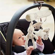 best quality whole cute rabbit baby hanging bed safety seat plush toy hand bell multifunctional plush toy stroller accessories mobile gifts at