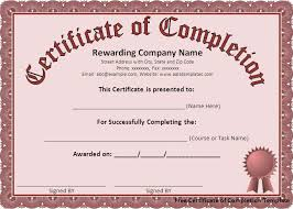 Certificate Of Completion Templates Free Certificate Of Completion Template Sample Templates