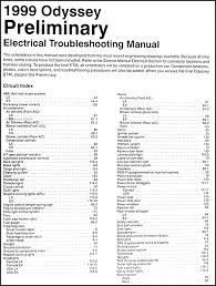 honda odyssey preliminary electrical troubleshooting manual orig table of contents