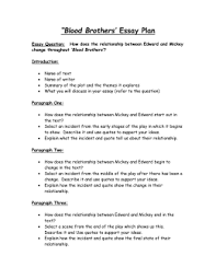 "blood brothers ""blood brothers` essay plan deans community high school """