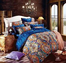 egyptian cotton blue satin luxury hotel bedding sets king queen size duvet cover bedsheet sheets bed