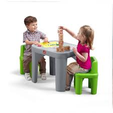 Plastic Table Chair Set Step2 Mighty My Size 3 Piece Grey And Green Childrens Table And