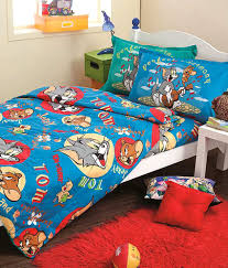 portico new york tom jerry blue single kids bedsheet set