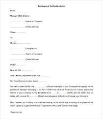 Employment Verification Letter Template Word Letter Of Employment Verification Template Free Employment