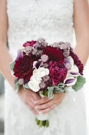Deep Red And White Winter Wedding Bouquet