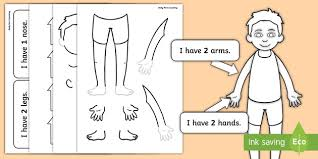 Free Body Part Counting Cut Out Activity Ourselves