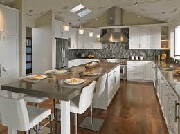 Kitchen:Luxury Kitchen Ideas With Island And White Modern Stools Also  Unique Gray Backsplash Wooden Flooring Hanging Light Fixture 20 ... Pinterest