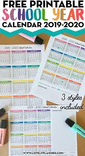 Printable School Year Calendars One Page School Calendar Free Printable For School Year