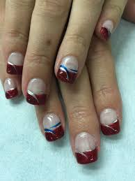 Gel Nail Designs For 4th Of July Patriotic 4th Of July Red Glitter Gel Nails With Silver And