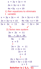variable equations using elimination steps to solve system of 3 equations