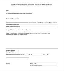 Proof Residence Form Blank Notarized Letter For Residency Template