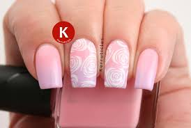 White Rose Nail Design Pink And Lilac Gradient With Stamped White Roses 52 Week