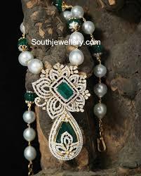 south sea pearl chain diamond pendant