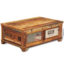 picture of vintage antique style storage box coffee table reclaimed wood