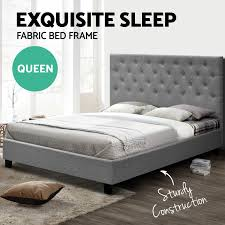NEW Queen Size VAN Bed Frame Linen Fabric Wooden Mattress Steel Beam Grey  ...