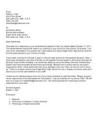 Cover Letter For Librarian Enchanting Cover Letter Librarian Cover Letter Below You Will Find Example