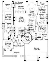 plan 67055gl private interior courtyard courtyard house plans Four Bedroom Cottage House Plans home plans square feet, 4 bedroom 3 bathroom mediterranean home with 3 garage bays love the wet bar! 4 bedroom cottage house plans