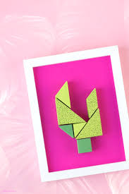 diy wall decor from paper cute tangram cactus super easy and fun to make