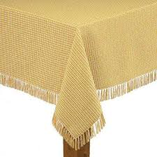 homespun fringed 70 in round gold 100 cotton tablecloth