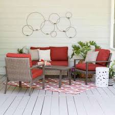 preston 4 piece wicker patio conversation set with red cushions