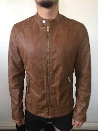 men s brown medium leather jacket by zara man