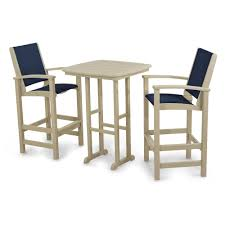 outdoor bar chairs and table. polywood® 3-piece coastal outdoor bar chair \u0026 table set chairs and h