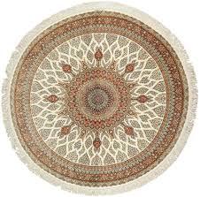 round ivory silk modern qum persian rug 49417 nazmiyal