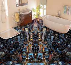 image unique bathroom. Dwell Of Decor 3d Glossy Epoxy Flooring For Unique Bathroom Designs Image R