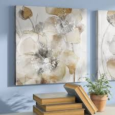 taupe spring poppy ii oil painting print on wrapped canvas on canvas floral wall art with plant floral wall art