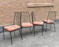 mid century modern set of four rare paul mccobb wrought iron patio dining chairs for
