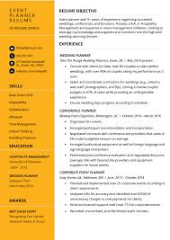 Event Planner Resume Objective Event Planner Resume Example Tips Resume Genius
