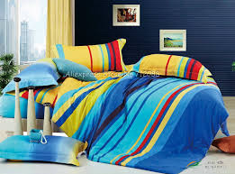4pcs with flat sheet full queen comforter duvet cover blue yellow red stripes pattern prints quilt duvet covers sets in bedding sets from home garden on