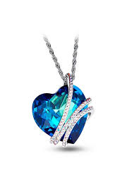 platinum plated necklace with mazarine austria crystal heart pendant platinum 450mm