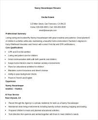 Nanny Housekeeper Resume Example